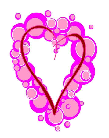 pink heart surrounded by bubbles without background Stock Vector - 17706142