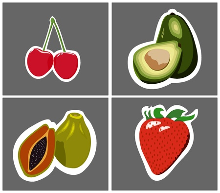 processed: graphically manually processed fruit set four pieces Illustration