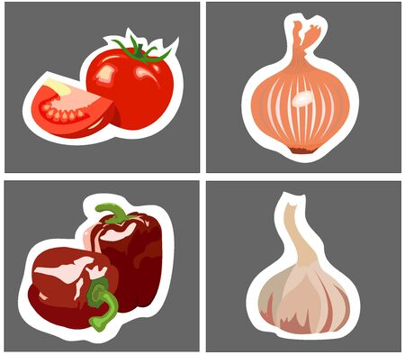 graphically: graphically manually processing vegetables, set four pieces
