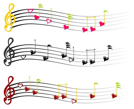 music notes love three combinations of colors Vector