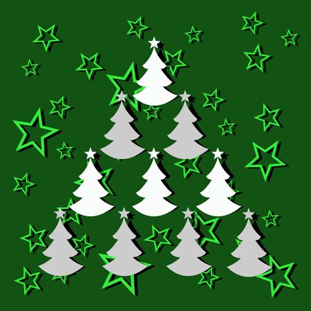 smaller: Christmas tree composed of smaller trees green background