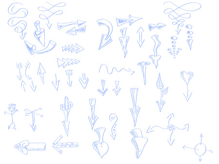 hand drawn arrow of various shapes and curves Vector