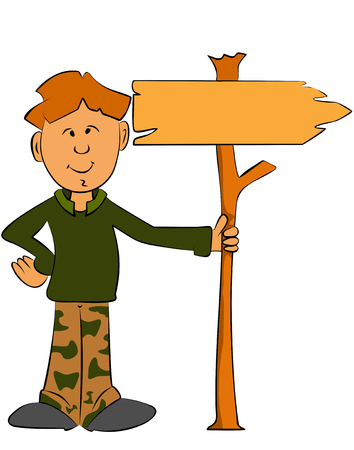 Ranger boy holding a sign for your text Vector