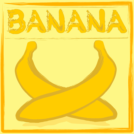 eating banana: two bananas on the label as a background with text options