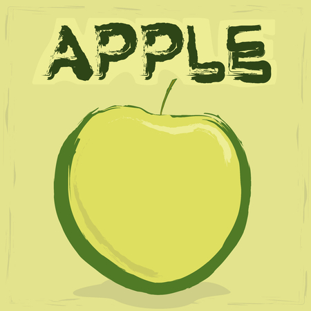 apple in green etiquette with text and vector Vector