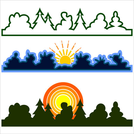 outlines three different consisting of forests with of clouds and sun Vector