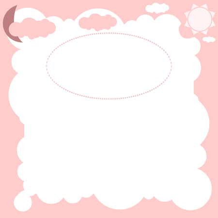 Baby Card in pink with clouds moon and the sun Vector