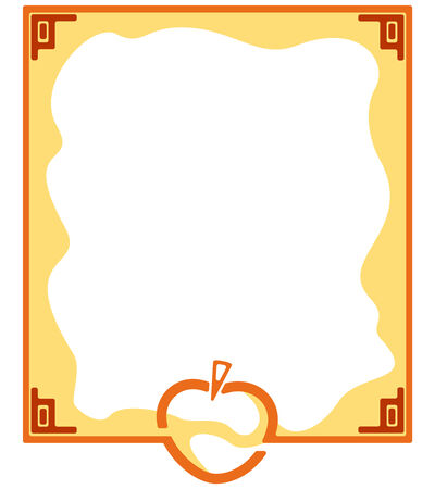 label with an apple in orange colors with space for text Vector