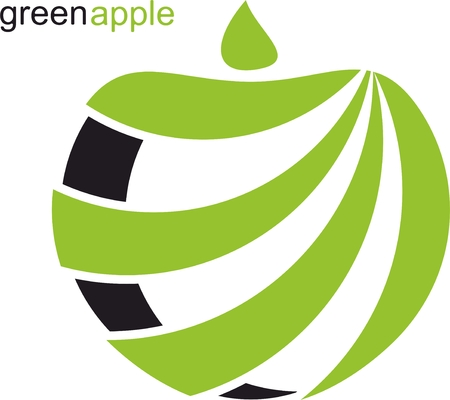 further: green apple in abstract shape For Further use Illustration