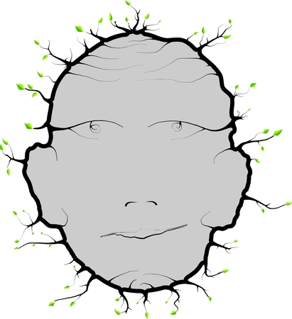 brain works: Human head with leaves recessed roots for future usee Illustration