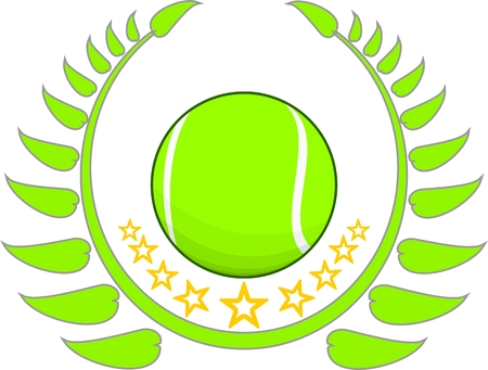 tennis ball with stars and a sprig around Ilustrace
