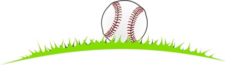 baseball ball lying in grass for further use Illustration