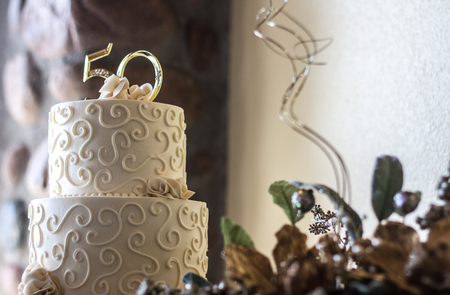 50th Anniversary Cake Banque d'images