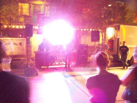 Purple light on crowd