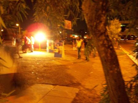 dreamy blur people by street