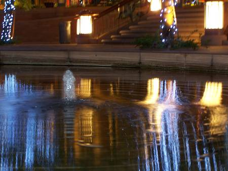 light reflections on fountain