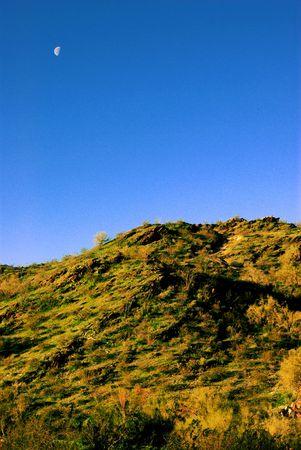 moon over a desert hill