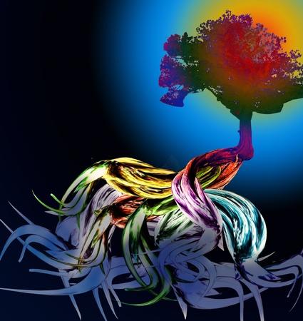 Fractal Tree Design Background Art