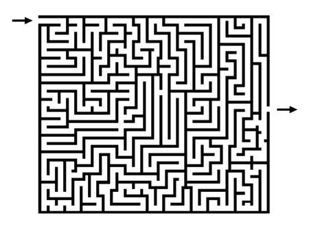 maze or labyrinth game, vector lines, find the way, enter and exit, puzzle game, black outline isolated on white background with arrows Ilustração Vetorial