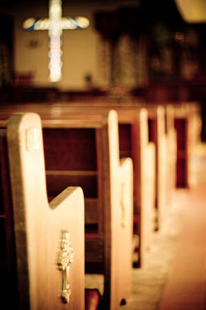 solace: Church pews Stock Photo