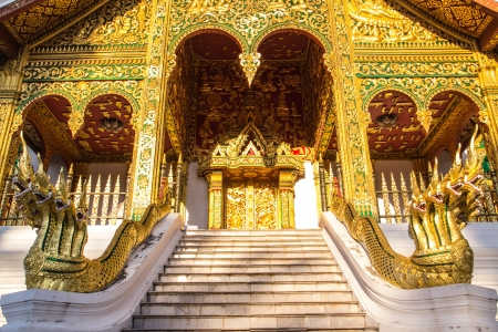 The Grand twin of golden Nagas  on the stair Stock Photo - 17219039