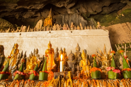 The candle light in pak ou cave Stock Photo - 17219104