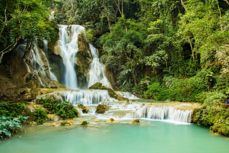 The Emerald of the waterfall,Khung si waterfall,laos photo