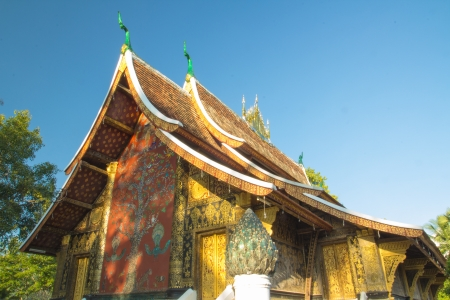 Blue sky in the  wat xieng thong,luang prabang,laos