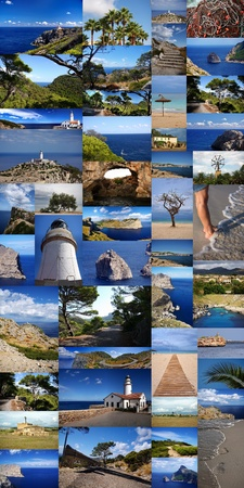 Mallorca, Colage of landscape, sky and sea 免版税图像