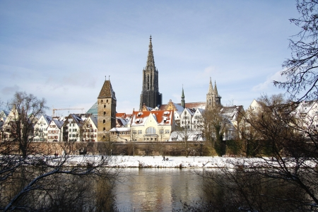 Snow on the roofs of Ulm photo