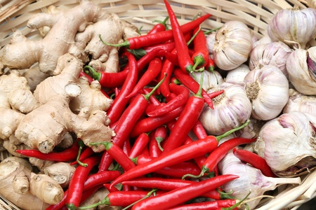 chili, garlic and ginger for a healthy diet photo