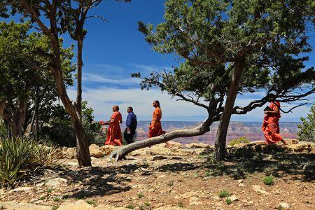 Grand Canyon, Arizona  USA - 04 30 2013 : Monk photographed the Grand Canyon with the mobile phone
