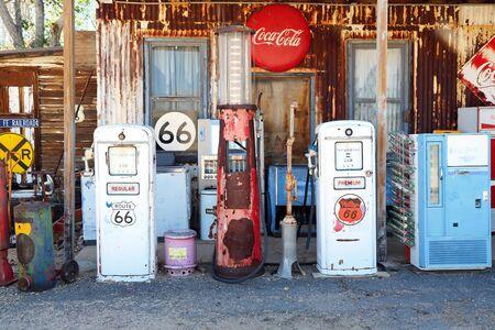 Route 66 Arizona  USA - 04 29 2013: petrol pump on Route 66 in Arizona Editorial