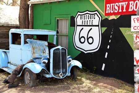 Route 66 Arizona  USA - 04 29 2013: Pickup on Route 66 in Arizona