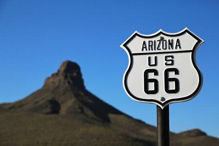 Route 66 in ArizonaRoute 66 Arizona  USA - 04 29 2013: Sign on Route 66 in Arizona Editorial