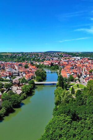 Aerial view over Rottenburg am Neckar at blue sky Zdjęcie Seryjne