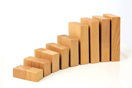 ascending diagram with wooden blocks