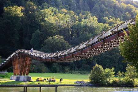 Essing / Germany - 18 09 2020: The wooden bridge Tatzlwurm is a sight of Essing Editorial