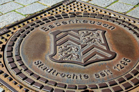Babenhausen, Germany - 07 13 2020: Manhole cover from Babenhausen