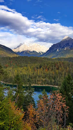 The Fernpass at Blindsee with a view of the Zugspitze