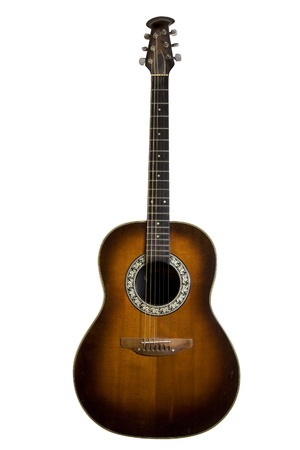 Classic acoustic guitar isolated on white with clipping path