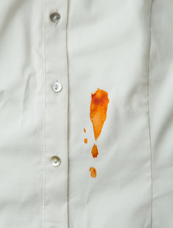 Tomato sauce stain on a shirt