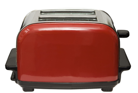 Red toaster isolated on white with clipping path Zdjęcie Seryjne