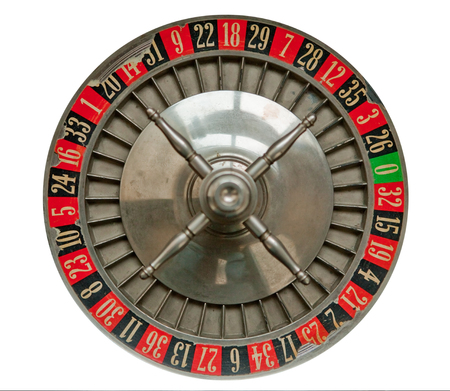 Old Roulette Wheel isolated on white