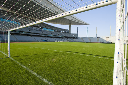 View from inside the goal in a stadium Banco de Imagens