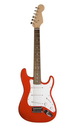 Red electric guitar isolated on white with clipping path Zdjęcie Seryjne
