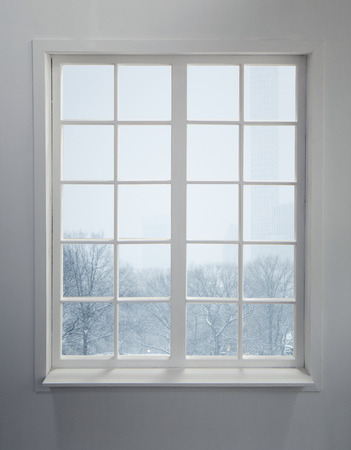 Modern residential window with snow and trees Zdjęcie Seryjne - 85252399