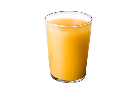 Glass of orange juice on white