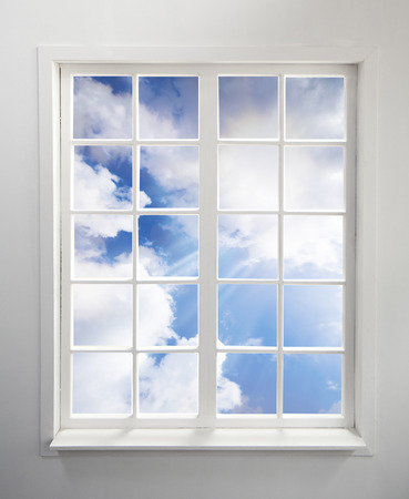 Modern residential window with clouds and light rays includes clipping path