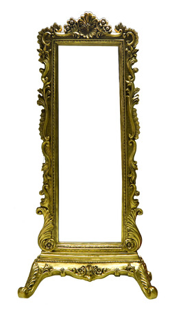 Antique mirror isolated on white background